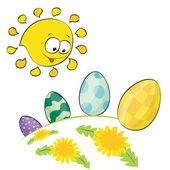 Cute little sun looking at easter eggs — Stock Vector