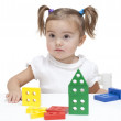 Playing with blocks — Stock Photo
