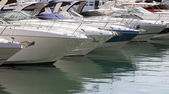 Moored motorboats — Stock Photo