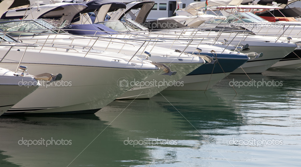 A lot of motorboats moored in marina  Stock Photo #4613783