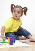 Baby girl umělec — Stock fotografie