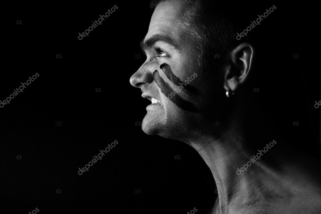 Profile View of Man expressing the aggression and pain. Black and White  Stock Photo #4070548