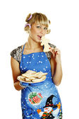 Young woman prepared cookies for Xmas — Foto de Stock
