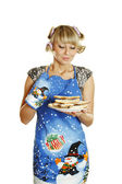 Young woman prepared cookies for Xmas — Stock Photo