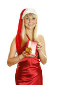 Beautiful christmas woman — Foto Stock