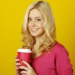Girl with a glass of coffee — Stockfoto #4609600