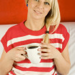 Girl with coffee — Foto de Stock