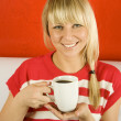 Girl with coffee — Stockfoto