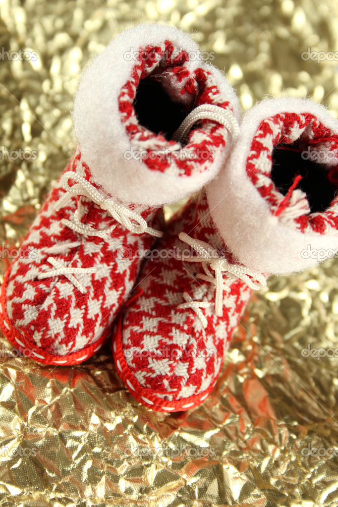 On a gold background are red Christmas stockings — Stock Photo #4612881