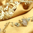 Background of golden fabric — Stock Photo