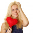 Young woman holding red heart — Stock Photo #5202455