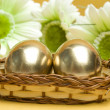 Easter golden eggs - Stock Photo
