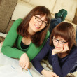 Closeup of young girl students learn — Stock Photo