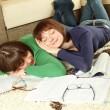 Young girl students are tired to study and sleep — Stock Photo