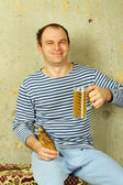 Closeup of a man with a glass of beer — Stock Photo