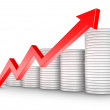 Red Arrow and Coins Growth Chart — Stock Photo