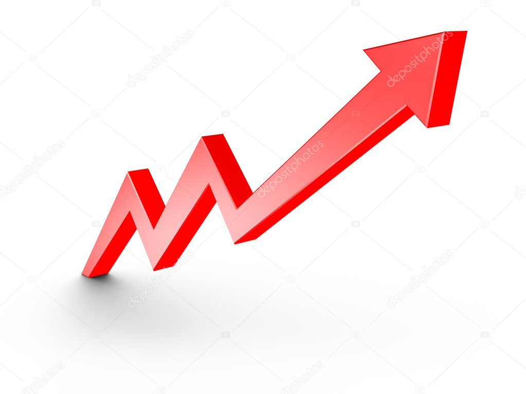 Red Arrow Growth Chart isolated on white — Stock Photo #4970732