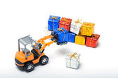 Trucks shifted gifts — Stock Photo