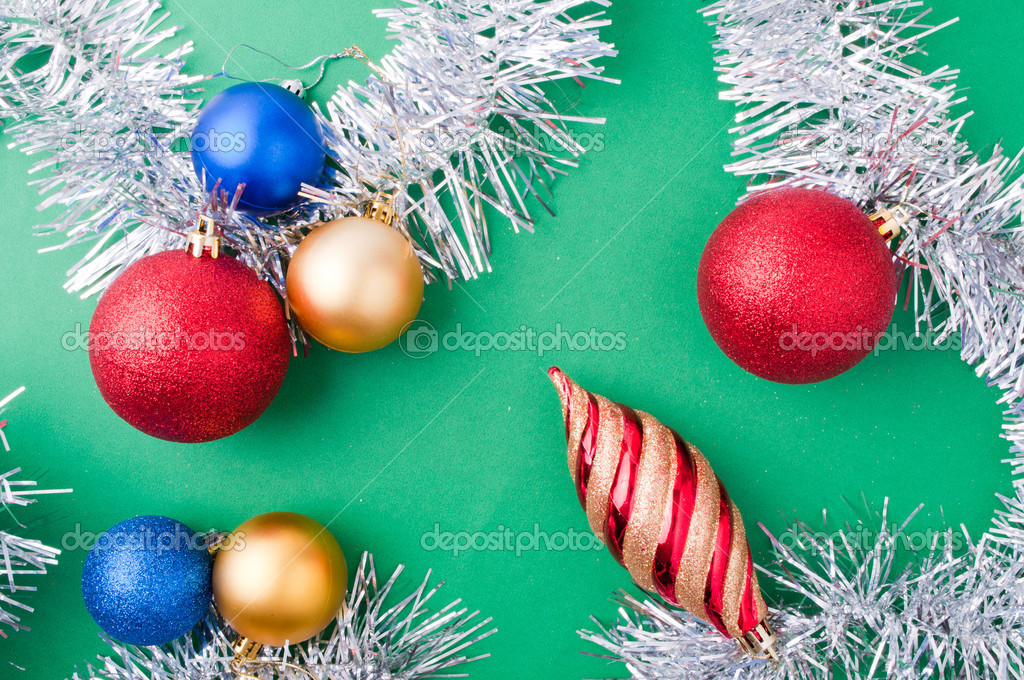 Christmas decoration objects on light green background — Stock Photo #4306723