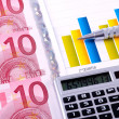 Financial Analysis with charts and european currency — Stock Photo