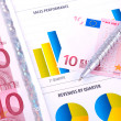 Financial Analysis with charts and european currency — Foto Stock