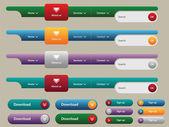 Navigation menu and internet button set — Stock Vector