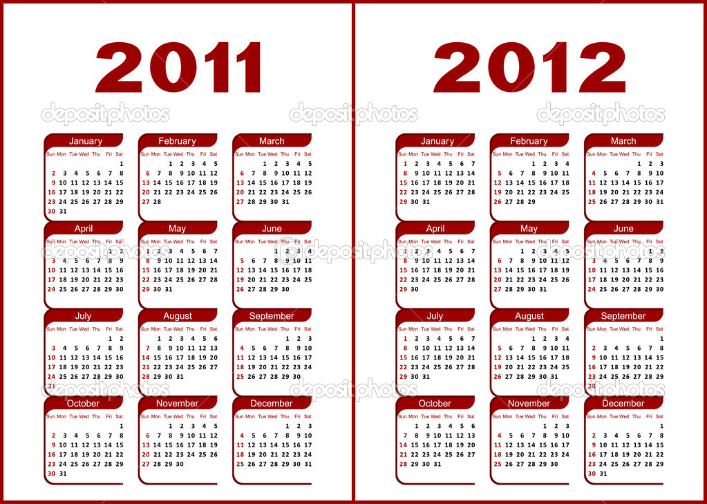 Calendar for 2011,2012.Red  letters and figures on a white background. — Stock Vector #4098082