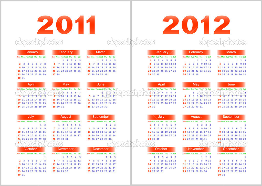 Calendar for 2011,2012.Red and blue letters and figures on a white background. — Stock Vector #4098106