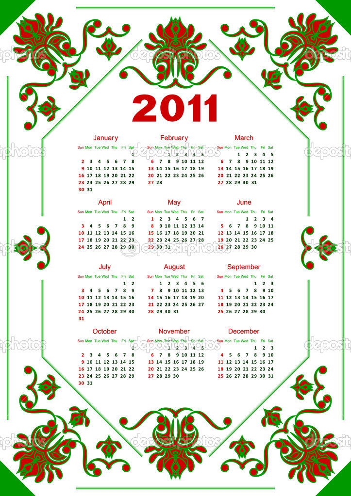 Calendar for 2011 for a white background. The calendar is executed in red and green color.  Stock Vector #4353178