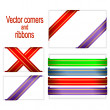 Stock Vector: Corners and ribbons.