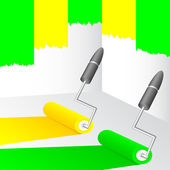 Yellow and green paint. — Stock Vector