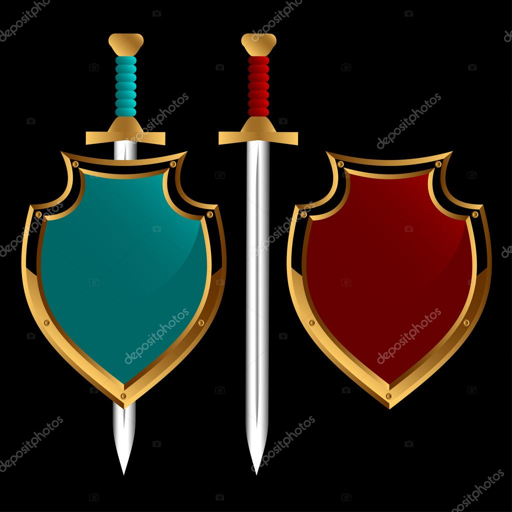 Set of boards and swords of different color on a black background. — Stock Vector #5034523