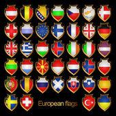 European flags-badges. — Stock Vector