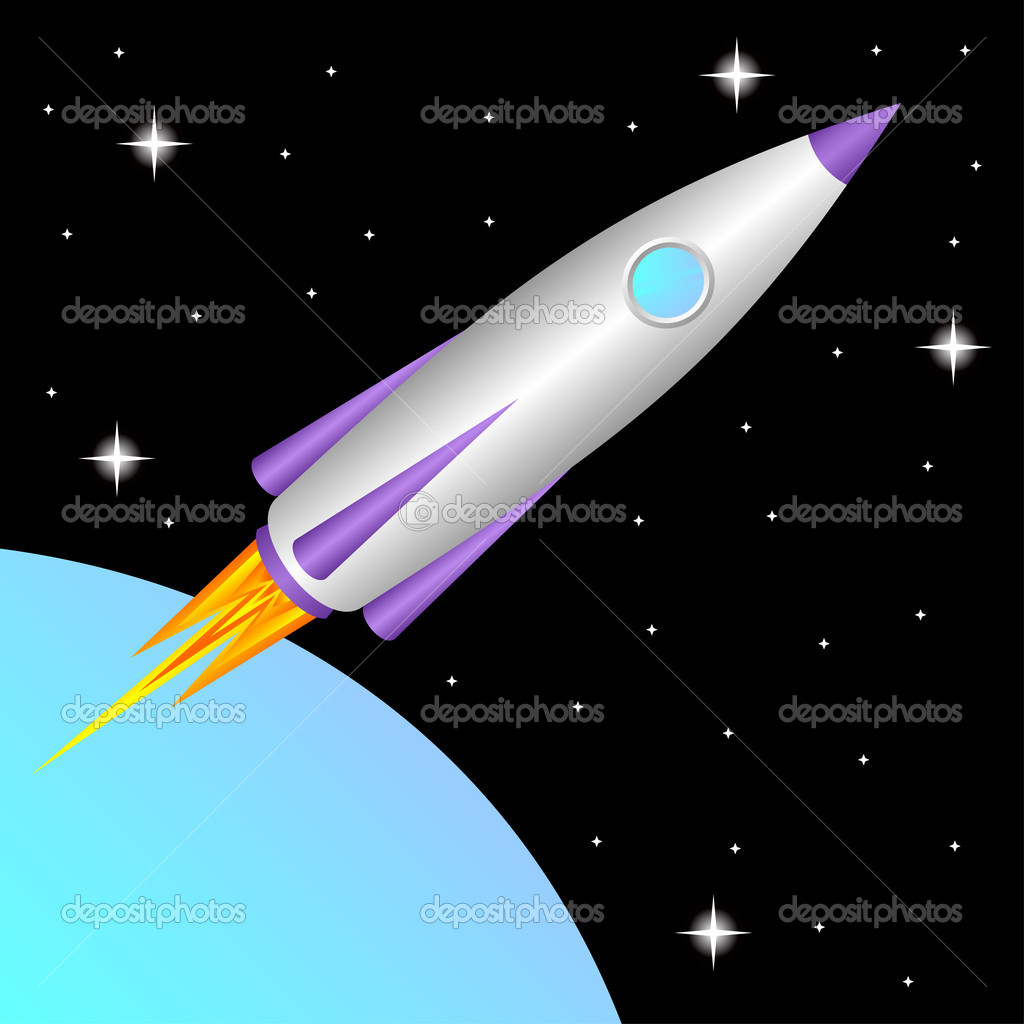 The space rocket flies in a free space.  Stock Vector #5368694