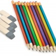 Pencils and eracers — Stock Photo
