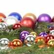 Christmas balls border — Stock Photo