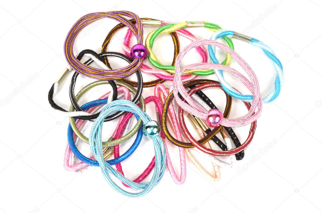 Set of colorful hair bands on a white background — Stock Photo #4130038