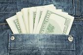 Dólares en el bolsillo — Foto de Stock