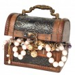 Treasure chest with jewelry - Stock Photo