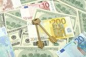Anahtarları ve para — Stok fotoğraf