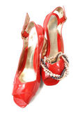 Kobieta czerwone buty — Zdjęcie stockowe