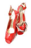 žena červené boty — Stock fotografie