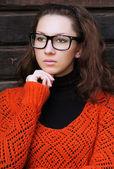 Pretty european girl wearing eyeglasses — Stock Photo