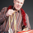 A man opens a gift — Stock Photo