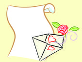 Postal envelope with hearts and rose — Stock Vector