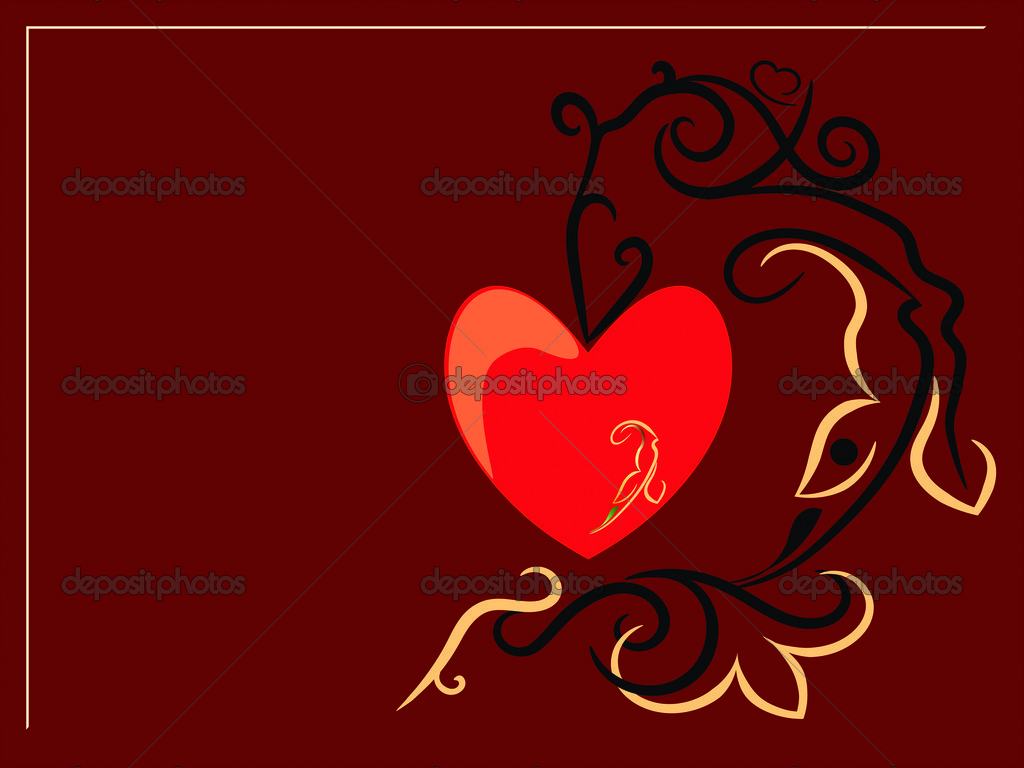 Red heart and decorative pattern from flowers and butterflies — Stock Vector #4751176