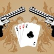 Royalty-Free Stock Vector Image: Revolver and playind cards