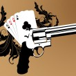 Stock Vector: Revolver and playind cards