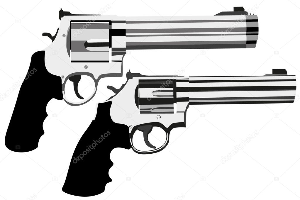 Vector revolver magnum on white background (illustration) — Stock Vector #4149187