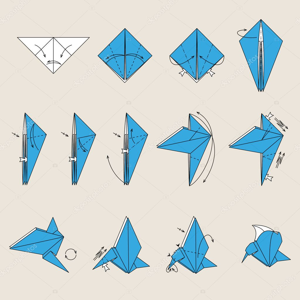 Как сделать у из бумаги птицу